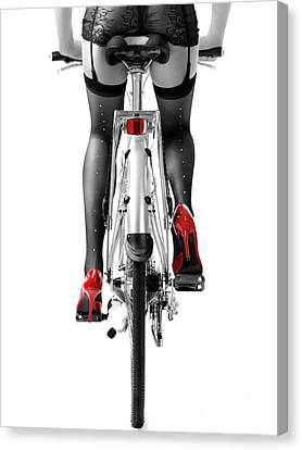 Sexy Woman In Red High Heel Shoes And Stockings Riding Bicycle Canvas Print by Oleksiy Maksymenko