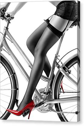 Sexy Woman In Red High Heels And Stockings Riding Bike Canvas Print
