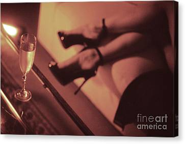 Sexy Young Lady In Stiletto High Heel Shoes And Glass Of Champagne Canvas Print by Edward Olive