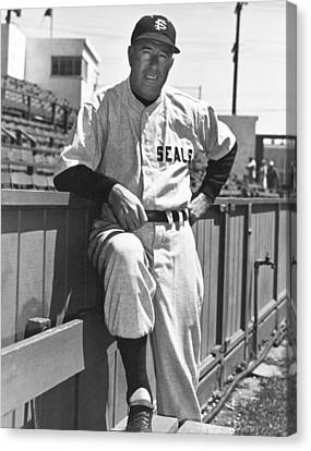 Baseball Uniform Canvas Print - Sf Seals Manager Lefty O'doul by Underwood Archives