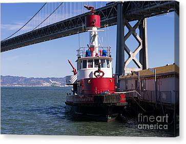 Sffd Guardian Fireboat Number 2 At The Bay Bridge On The Embarcadero Dsc01844 Canvas Print