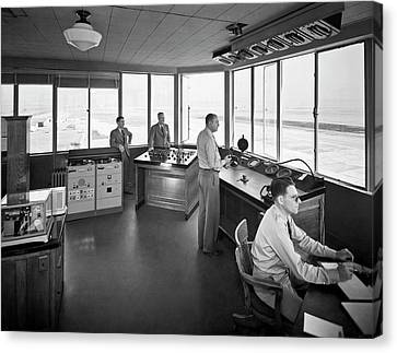Traffic Control Canvas Print - Sfo Control Tower by Underwood Archives