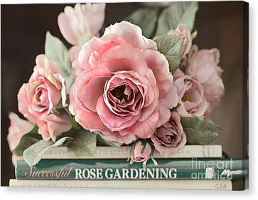 Shabby Chic Vintage Roses - Dreamy Ethereal Peach Pink Roses Garden Cottage Art Canvas Print by Kathy Fornal