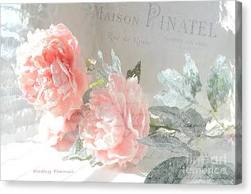 Shabby Chic Dreamy Cottage Chic Impressionistic Romantic Peach Roses Floral Art Canvas Print by Kathy Fornal