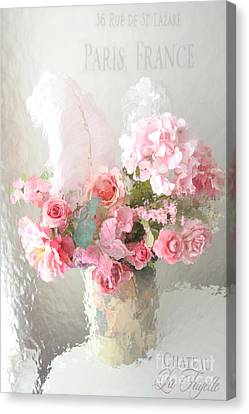 Shabby Chic Dreamy Pink Peach Impressionistic Romantic Cottage Chic Paris Floral Art Photography Canvas Print by Kathy Fornal