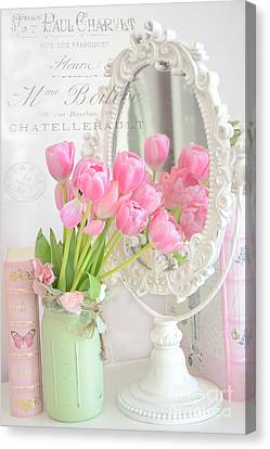 Pink Tulip Canvas Print - Shabby Chic Tulips Reflection In Mirror - Dreamy Romantic Cottage Pink Tulips Floral Art by Kathy Fornal
