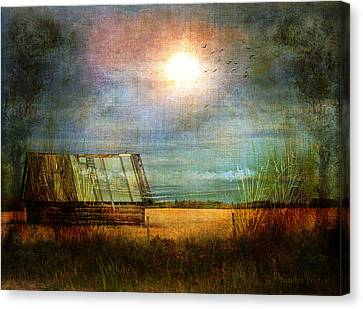 Shack On The Prairie Corner  Canvas Print by Sandra Foster