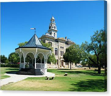Shackelford County Courthouse Gazebo Canvas Print by The GYPSY And DEBBIE