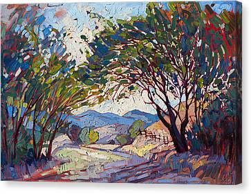 Canvas Print featuring the painting Shaded Path by Erin Hanson