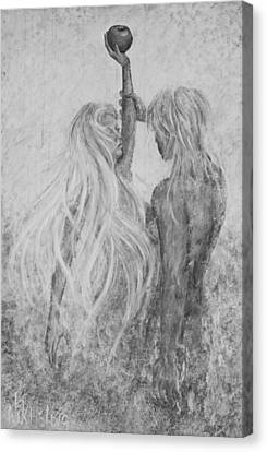 Canvas Print featuring the painting Shades Of Gray - Adam And Eve by Nik Helbig