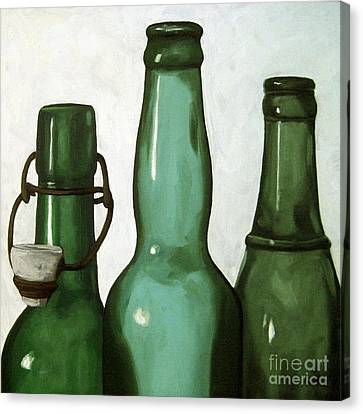 Shades Of Green - Bottles Canvas Print by Linda Apple
