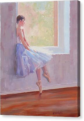 Ballet Dancers Canvas Print - Shades Of Lavender Two by Laura Lee Zanghetti