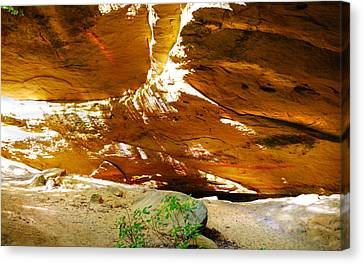 Shades Of Light Shadow And Texture On Cliff Wall Canvas Print by Optical Playground By MP Ray