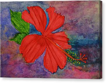 Shades Of Red Hibiscus Canvas Print by Linda Brown