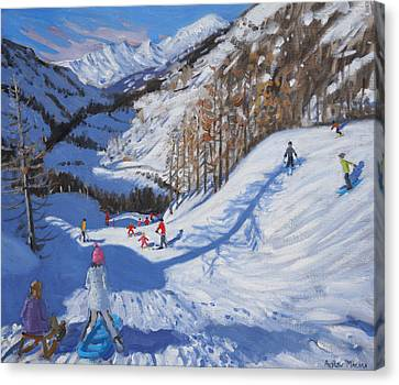 Shadow Of A Fir Tree And Skiers At Tignes Canvas Print by Andrew Macara