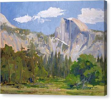 Shadow Over Half Dome Canvas Print by Sharon Weaver