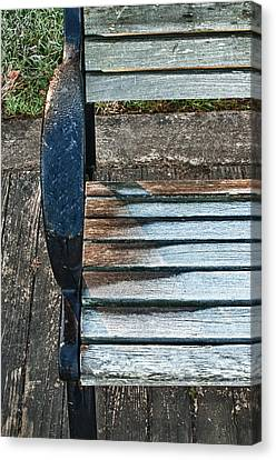 Canvas Print featuring the photograph Shadow Protecting Frost On Bench by Gary Slawsky