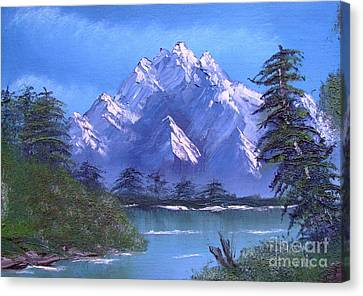 Canvas Print featuring the painting Shadowed Mountain Lake by Marianne NANA Betts