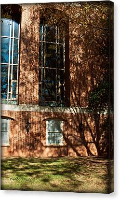 Shadows Across The Library - Davidson College Canvas Print by Paulette B Wright