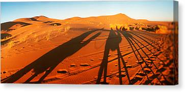 Shadows Of Camel Riders In The Desert Canvas Print