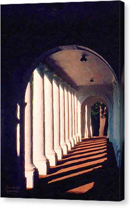 Shadows University Of Virginia Canvas Print by Spyder Webb