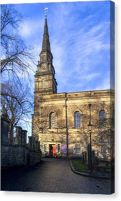 Shadowy Path To The Parish Church Of St Cuthbert Canvas Print by Mark E Tisdale
