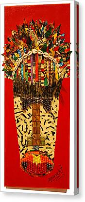 Canvas Print featuring the tapestry - textile Shaka Zulu by Apanaki Temitayo M