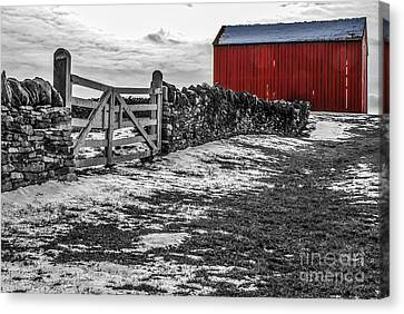 Shakertown Red Barn - Sc Canvas Print by Mary Carol Story