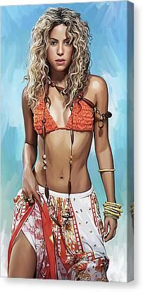Canvas Print featuring the painting Shakira Artwork by Sheraz A
