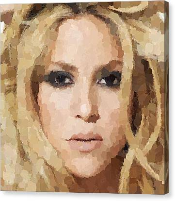 Shakira Portrait Canvas Print by Samuel Majcen