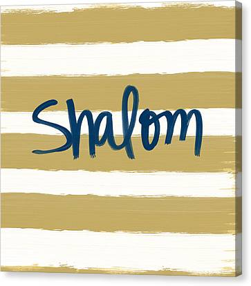 Shalom- Blue With Gold Canvas Print