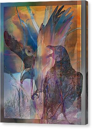 Canvas Print featuring the digital art Shaman's Friends by Ursula Freer