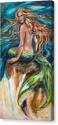 Canvas Print featuring the painting Shana The Mermaid by Linda Olsen