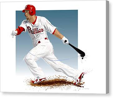Batter Canvas Print - Shane Victorino by Scott Weigner