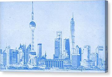 Lincoln Park Lagoon Canvas Print - Shanghai Blueprint by Celestial Images