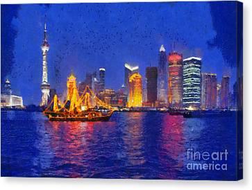 Shanghai During Dusk Time Canvas Print