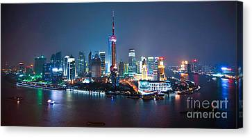 Shanghai Panorama Canvas Print by Delphimages Photo Creations