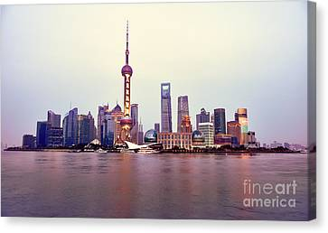 Shanghai Pudong Cityscape At Sunset Canvas Print