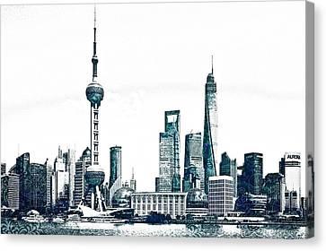 Lincoln Park Lagoon Canvas Print - Shanghai Skyline by Celestial Images