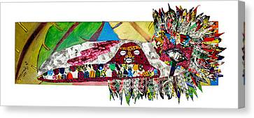 Canvas Print featuring the tapestry - textile Shango Firebird by Apanaki Temitayo M