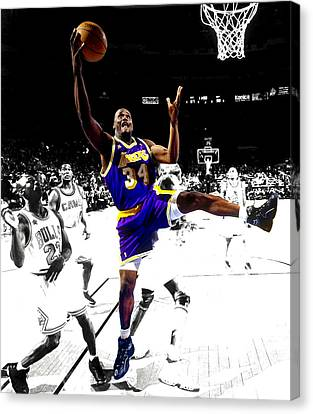 All Star Game Canvas Print - Shaquille O Neal by Brian Reaves