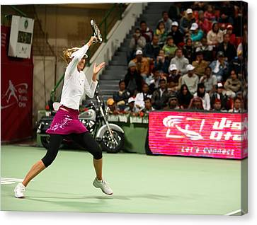 Sharapova At Qatar Open Canvas Print by Paul Cowan