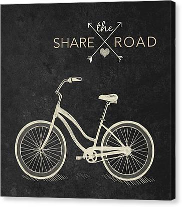 Beach Cruiser Canvas Print - Share The Road by South Social Studio
