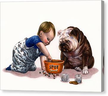 Bulldogs Canvas Print - Sharing Food by Isabella Kung