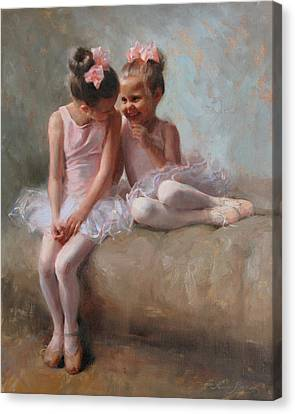Ballerinas Canvas Print - Sharing Secrets by Anna Rose Bain