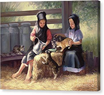 Amish Canvas Print - Sharing With A Friend by Laurie Hein