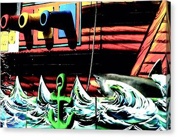 Canvas Print featuring the photograph Shark And Pirate Ship Pop Art Posterized Photo by Marianne Dow