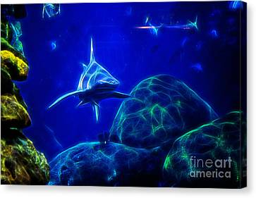 The Tiger Hunt Canvas Print - Shark Hunting Abstract by Tom Gari Gallery-Three-Photography