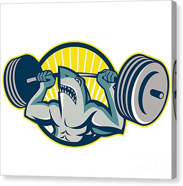 Shark Weightlifter Lifting Barbell Mascot Canvas Print by Aloysius Patrimonio
