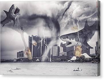 Canvas Print featuring the photograph Sharknado Detroit by Nicholas  Grunas